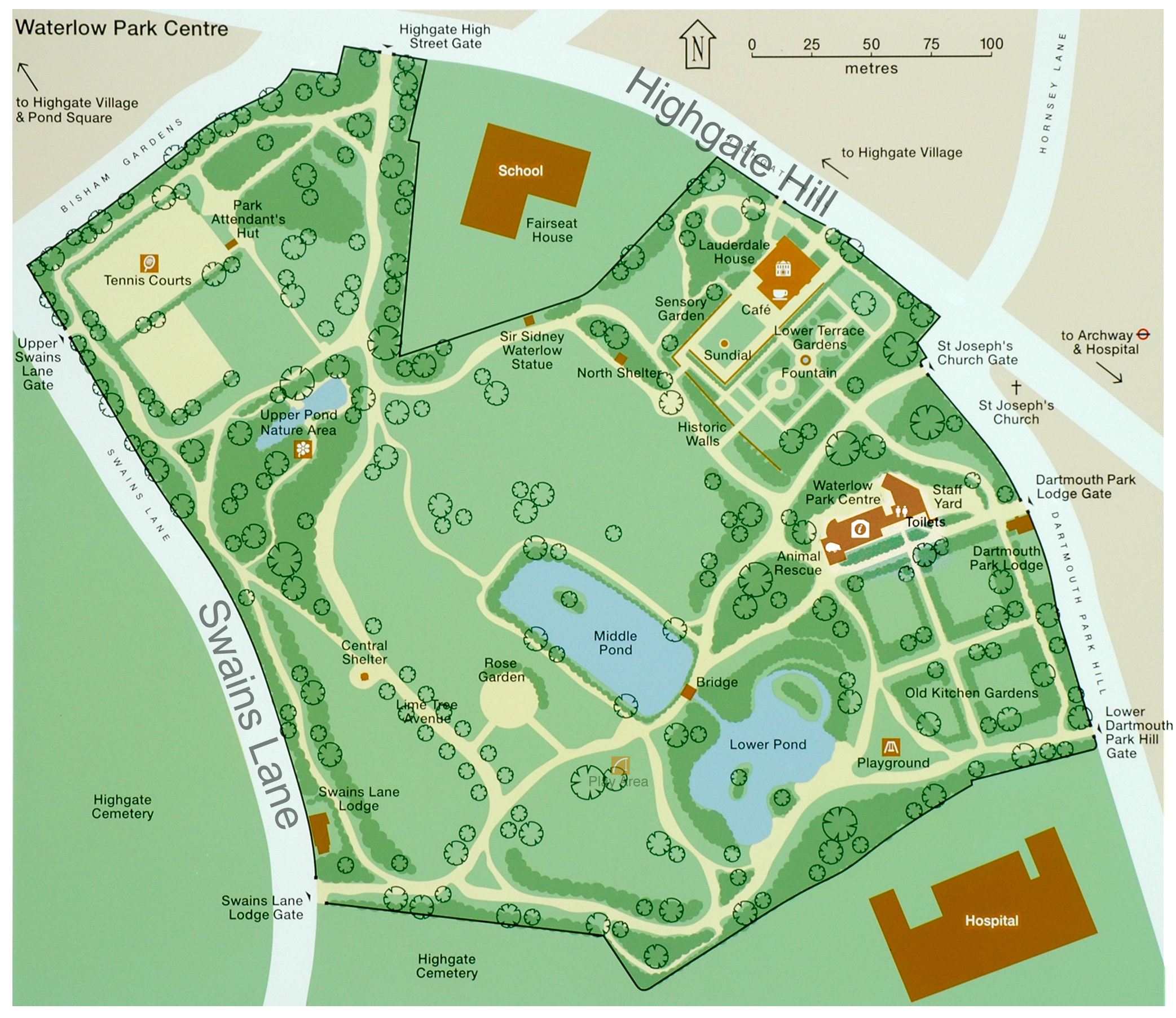 Waterloo Park Map Waterlow Park   Map and Facilities